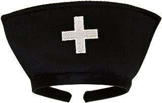 Black Nurse Hat Headband with White Cross - Halloween Costume Accessory