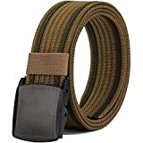 Nylon Belts for Men, Military Tactical Belt with YKK Plastic Buckle, Durable Breathable Canvas Belt for Work Outdoor Sports,Adjustable for Pants Size Below 46inches[53'Long1.5'Wide] (Brown)