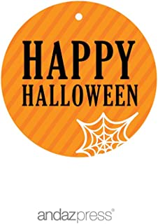 Andaz Press Classic Black and Orange Halloween Party Collection, Happy Halloween Round Circle Gift Tags, 24-Pack