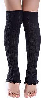 OULII, Mujeres Calentadores de pierna elástico Puños Botas Calcetines altos (Negro)