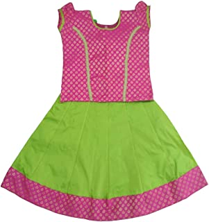 Pattu Pavadai Baby Girls & Kids Raw Silk Skirt and Blouse (Pink and Parrot Green)