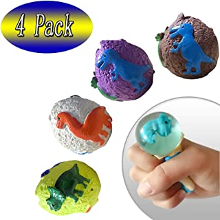 Maikall Rish Dinosaurs Relieve Stress Squishy Ball 4 Pack Kids Sensory Toys Adult Autism ADHD Bad Habit Hand Squish Supplies Office and School Best Choice