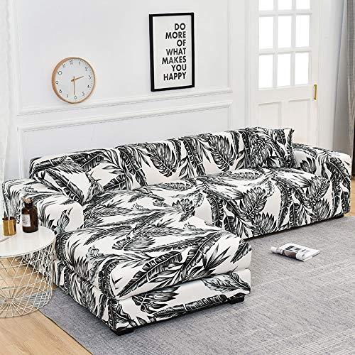 ASCV Funda de sofá en Forma de L Fundas elásticas Fundas de sofá elásticas para Sala de Estar Funda de sofá seccional Chaise Longue A3 3 plazas
