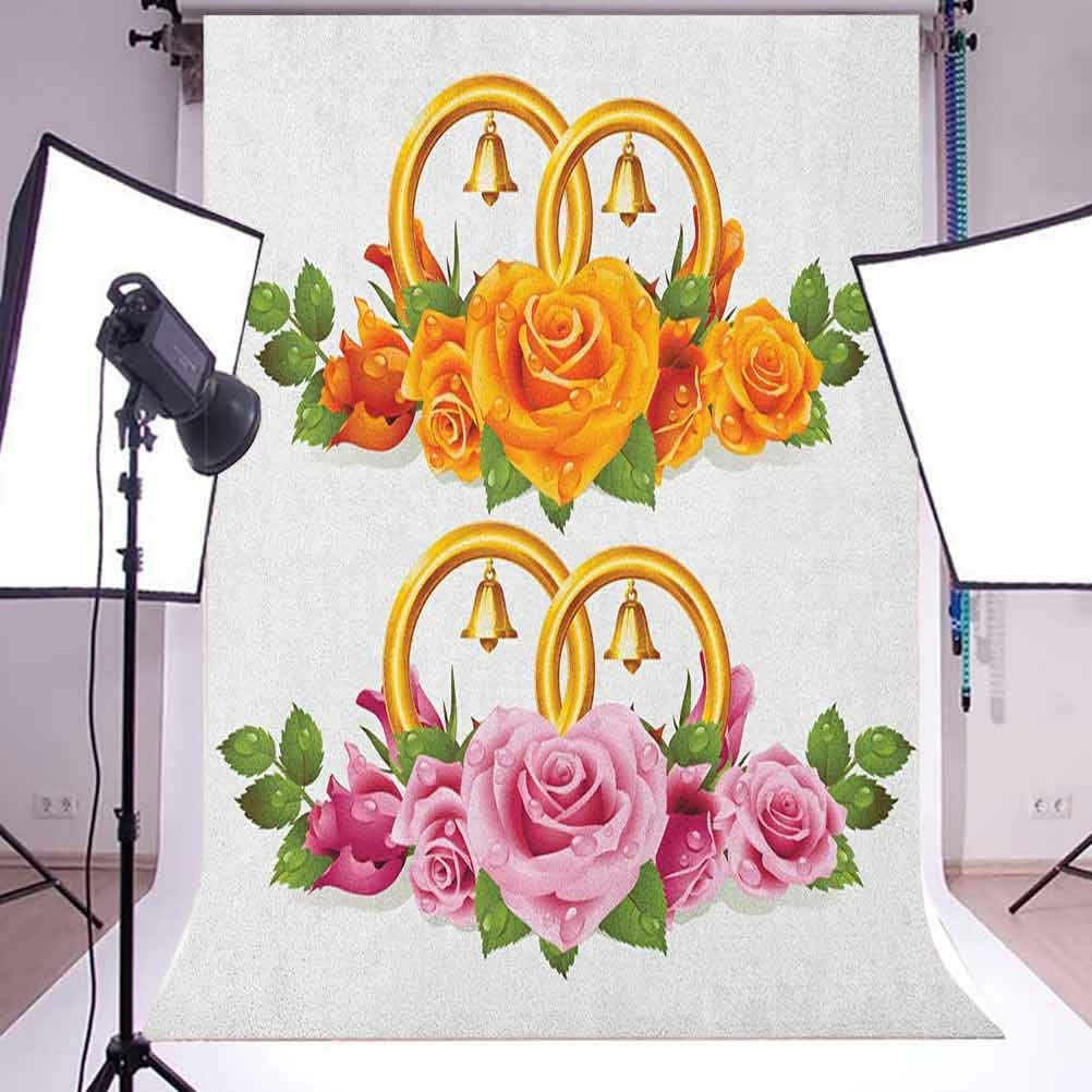 8x12 FT Letter F Vinyl Photography Backdrop,Natural Inspirations with Animals and Flowers Butterflies Daisies Pattern Background for Baby Shower Bridal Wedding Studio Photography Pictures