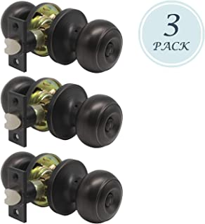 Privacy Door Knob Interior Door Knobs(Thumb Turn Inside Lock) for Bedroom or Bathroom with A Oil Rubbed Bronze Finish, with Removable Latch Plate, Reversible for Right/Left Side 3 Pack