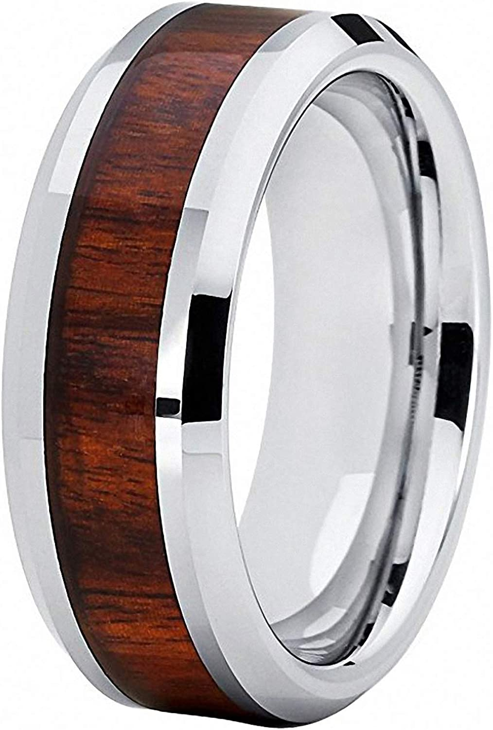 N-A 8 mm Wedding Band Men Woman Tungsten Carbide Ring with Rosewood Wood Inlay Comfort Fit