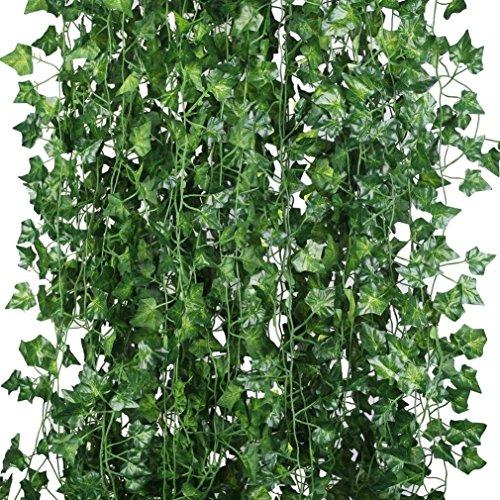 Houda Lot de 12 plantes artificielles à suspendre en soie, longueur totale 25,6 mètres, lierre anglais artificiel avec feuilles vertes pour décoration de la maison, la cuisine, le jardin, le bureau, un mariage, un mur, pour un cosplay ou une rampe d'escalier