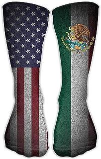 ulxjll, Medias De Compresión Vestido De Tobillo Con Cuello Redondo De La Novedad De La Bandera Americana De México Se Adapta A Zapatos Niñas Rodilla De Viaje Niños Calcetines Largos Medias Divertidas Y