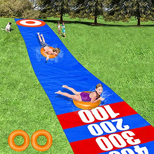 Kids Slip and Slide Water Slide 33ft x 59in Backyard Waterslide with Inflatable Pool Floats Outdoor Water Toys Sliding Racing Lane for Adults Summer Yard Lawn Games