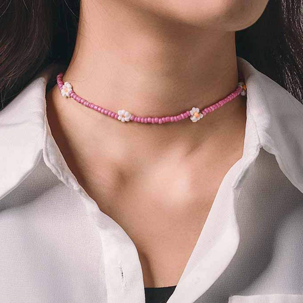 Chicque Bohemian Flowers Choker Necklace Bead Necklace Chain Beach Daisy Necklaces Jewelry for Women and Girls (Pink)