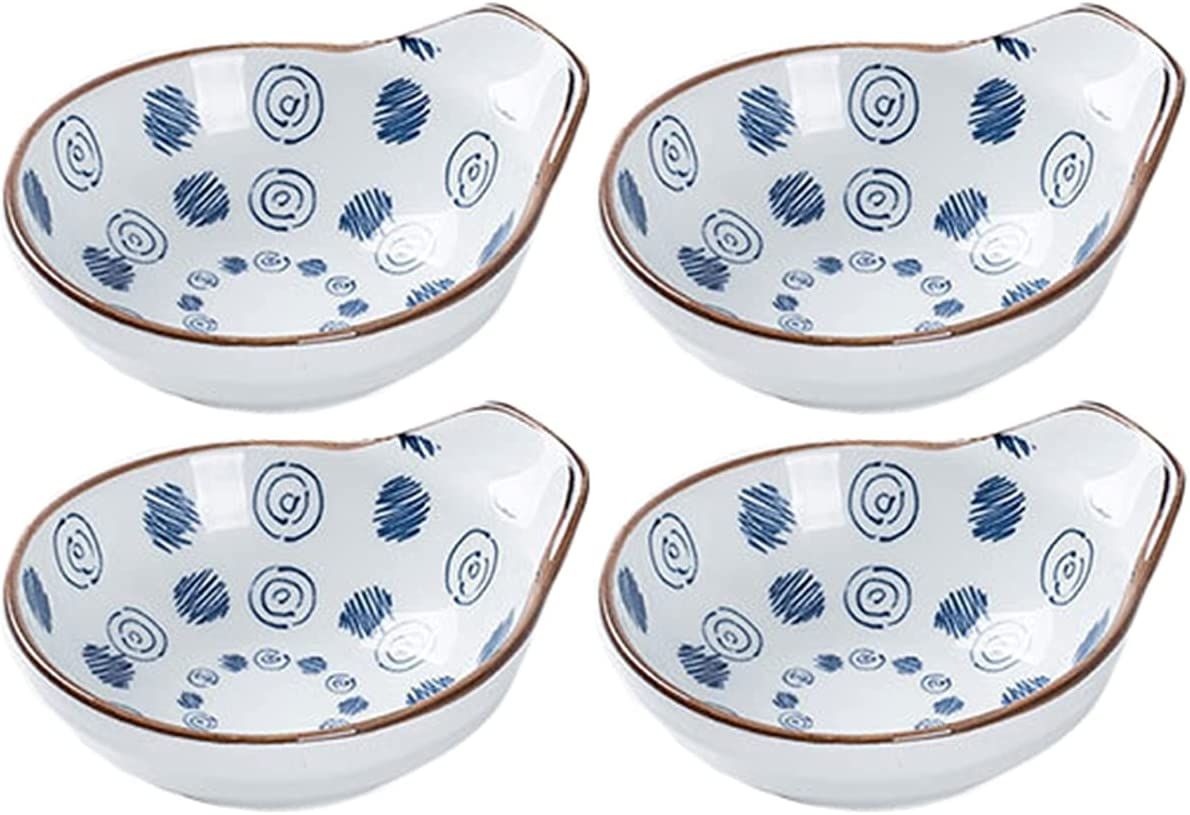 Sizikato New popularity 4pcs Blue and White Handle Plate with Sauce Max 87% OFF Porcelain