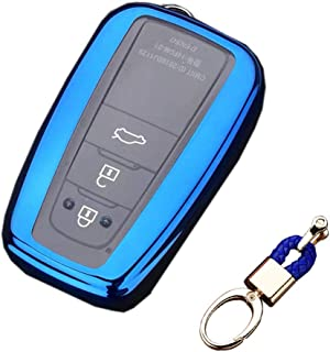 Royalfox(TM) 2/3/4 Buttons Soft TPU Smart keyless Remote Key Fob case Cover Shell Keychain for 2018 2019 2020 Toyota Camry...