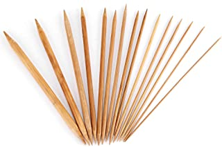 BLLBOO-Aguja de Tejer de bambú -Aguja de Tejer de bambú - Juego de Agujas de Tejer de bambú Lisas de Doble Punta 15 tamaño...