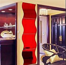 6 STKS Golvende Spiegel Muurstickers, 3D Spiegel Art DIY Thuis Decoratieve Acryl Spiegel Wandplaat Plastic Spiegel Tegels ...