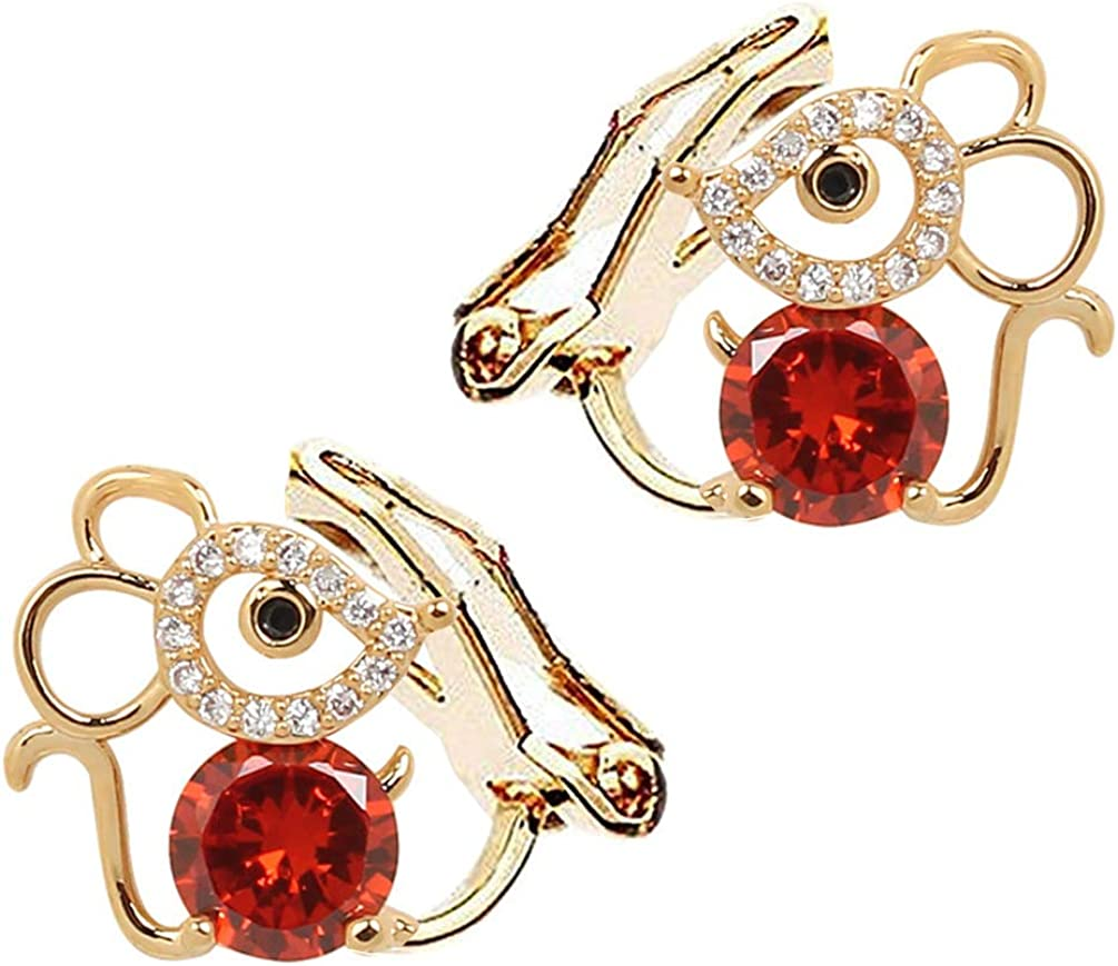 2020 Rat Mouse Clip on Earrings non Pierced Soft Pads Red Crystal Rhinestone Gold Plated for Women Girls