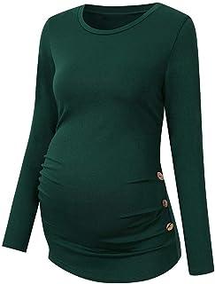 3dac72b483e3 Targogo Lonshell Maternity Basic Manica Lunga con Bottoni Abbigliamento E  Gravidanza maternità Vestiti Camicia Camicetta Autunno