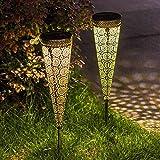 FEIJUN Luces Solares Al Aire Libre Linterna De Jardín De Metal Vintage Impermeable LED Blanco Cálido Decoraciones Solares para Exteriores para Jardín Patio Césped Patio Patio(Color:2 pcs)