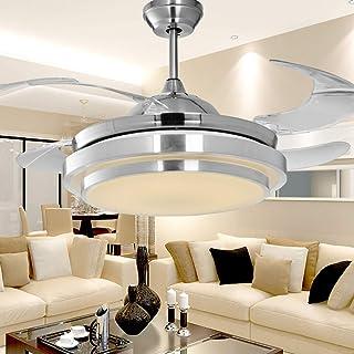 EnweLampi 36W Ventilador De Techo Invisible con Aspas Transparentes Y Luces Retráctiles con Mando A Distancia, Luz Regulable