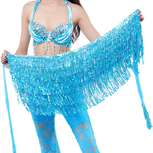 Wuchieal Belly Dance Skirt Hip Scarf Hot Dance Hip Belt Skirt Latin Dance Hula Hip Scarf (Light Blue)