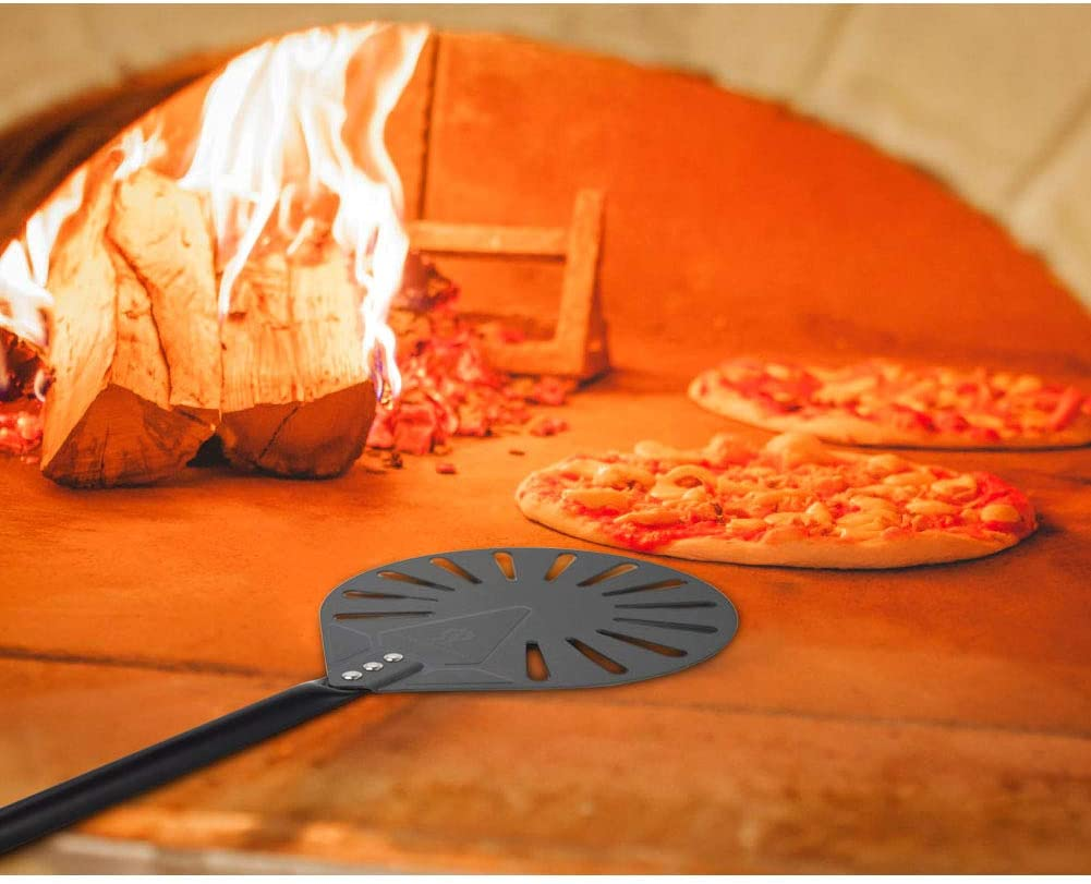 SHANGPEIXUAN Pizza Brush and 9 Inch Perforated Round Turning Peel Set Aluminum Pizza Peel Paddle with 47-Inch Aluminum Handle Commercial Pizza Oven Tool /…