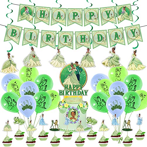 Princess Tiana Party Supplies, The Princess and the Frog Theme Birthday Party Decorations for Girls with Happy Birthday Banner Cake Topper Cupcake Toppers Balloons Swirls