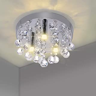 DEBEME Lámpara de Araña de Cristal de Montaje Empotrado Moderna, Luces de Techo Redondas de Cromo, Lámpara Colgante de Bombilla LED, para Sala de Estar, Dormitorio