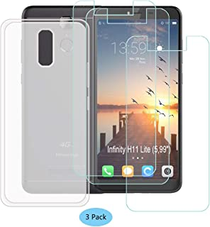 YZKJ Case for HISENSE (F24) Infinity H11 Lite Cover + 3 x Screen Protector Tempered Glass Protective Film - Flexible Soft Gel Crystal Translucent TPU Silicone Protection Case for (5.99