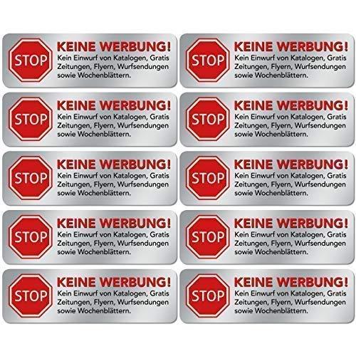 10x Geen reclame stickers - schild - folie - stickers (Stop alstublieft geen gratis krant, reclame, folder, handbladen, weekbladen, reclame) voor de brievenbus in roestvrij stalen look