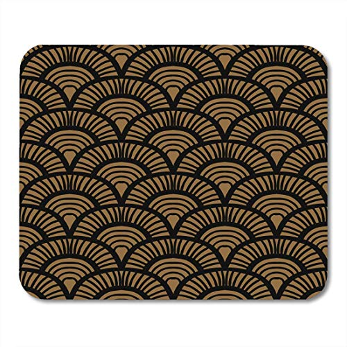 Mouse Pads Beige Japanese Vintage Pattern Scale Motifs in 1930S and 1920S Circles Asian Mouse pad 9.5