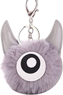Sanwooden Cute Key Chain Elegant Fluffy Big Eyes Ox Horn Pompom Key Ring Holder Keychain Car Bag Ornament Girl Fashion Accessories