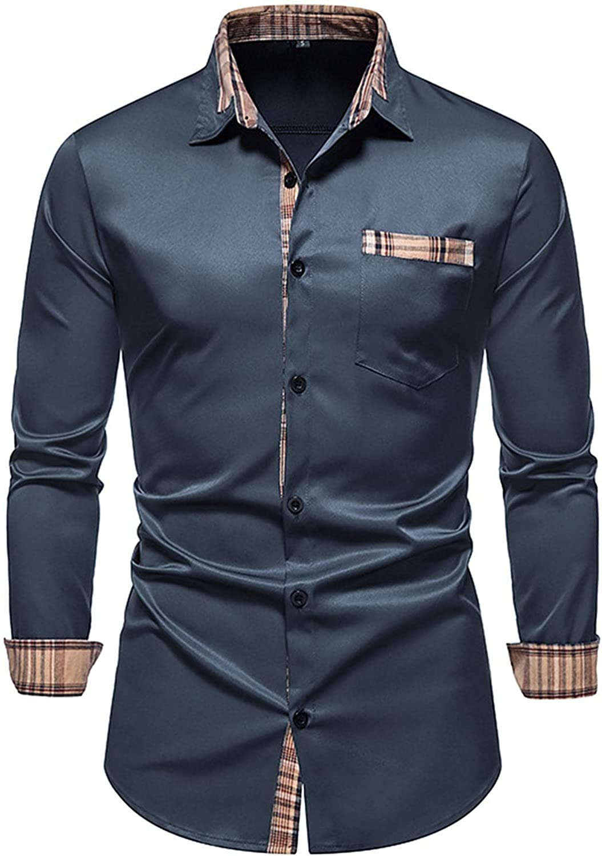 Men's Cotton Dress Shirts Long Sleeve Plaid Collar Shirt Slim Fit Casual Button Down Shirt Classic Fit