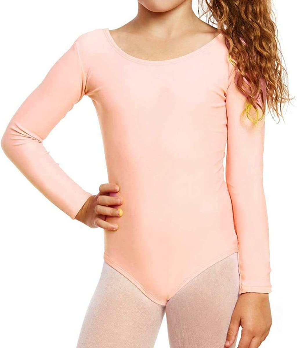 Loxdonz Girls Leotard Basic Long Sleeve Ballet Dance Leotard Kids Stretch Gymnastics Bodysuit Top : Clothing, Shoes & Jewelry