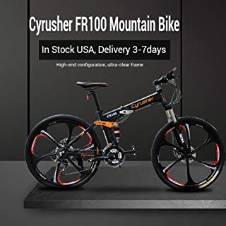 Cyrusher FR100 Folding Mountain Bike Full Suspension 24 Speeds Shimono Shifter with Aluminium Frame Disc Brake and Suspension Fork for Men