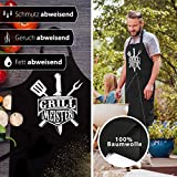 ELANI ® Grillschürze | GRILLMEISTER | Grillschürze für Männer | inklusive nachhaltigem Geschenk Baumwollbeutel | Geschenk für Männer | Grillen ohne Plastik - 4