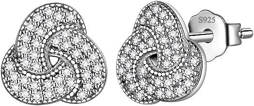 Celtic Knot Earrings Stud Women 925 Sterling Silver Love Knot Studs Earring Crystal Cubic Zirconia Jewelry