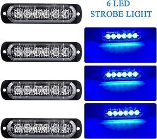 4 x 6 LED Emergency Warning Lights Blue Hazard Flashing Strobe Light Recovery Breakdown Beacon Light Bar Universal for 12-24V Car Truck Trailer Caravan