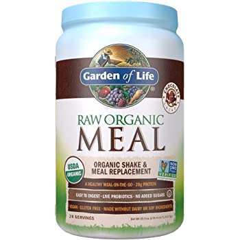 Garden of Life Meal Replacement Chocolate Powder, 28 Servings, Organic Raw Plant Based Protein Powder, Vegan, Gluten-Free