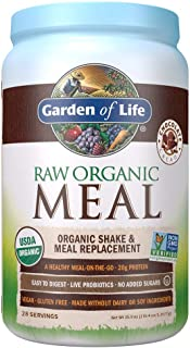 Garden of Life Meal Replacement - Organic Raw Plant Based Protein Powder, Chocolate, Vegan, Gluten-Free, 35.9oz (2lb 4oz/1...