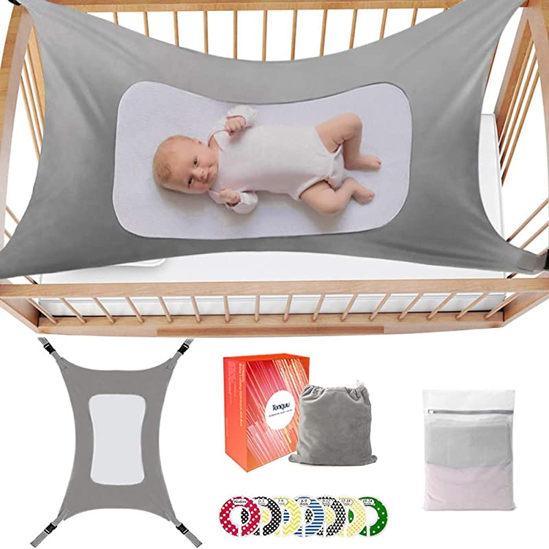 Baby Hammock For Crib Mimics Womb Bassinet Hammock Bed For Newborn Baby With Baby Closet Dividers 7pcs Accompanying Gift Triple Layer Breathable Supportive Mesh And Safe Buckle Grey