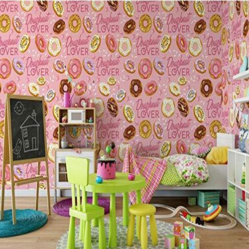 Roze Stijl Behang Non-Woven Muralen, Cartoon Voedsel Donut Behang voor Kinderen Kamer,Geschilderde Achtergrond Muur 208cm (B) x146cm (H)