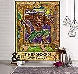 PPOU Mandala Tarot Tapisserie Wandbehang Mondphasenwechsel Wandteppiche Schlafzimmer Dekor Tagesdecke Überwurf Sonne Mond Wanddekor 95x73CM A17 150x200cm