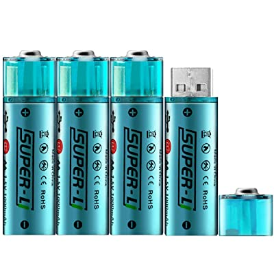 USB Rechargeable AA Lithium-ion Batteries 1.5V/...