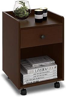 DEVAISE ナイトテーブル ベッドサイドテーブル サイドテーブル キャスター付き 移動便利 引き出し付き ベッド周り収納 幅400*奥行398*高さ520mm 簡単組立 木製 ダークブラウン ORAHDG612TD