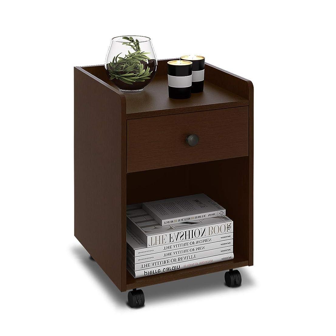 詐欺師生命体一時停止DEVAISE ナイトテーブル ベッドサイドテーブル サイドテーブル キャスター付き 移動便利 引き出し付き ベッド周り収納 幅400*奥行398*高さ520mm 簡単組立 木製 ダークブラウン WF0010B