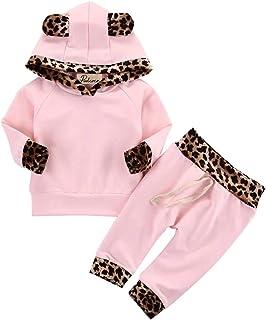 EDOTON Baby Mädchen Outfit 2 Stücke Set Gestreifte Blumen Hoodies mit Tasche Top  Lange Hosen Sweatshirt Outfit Kleidung