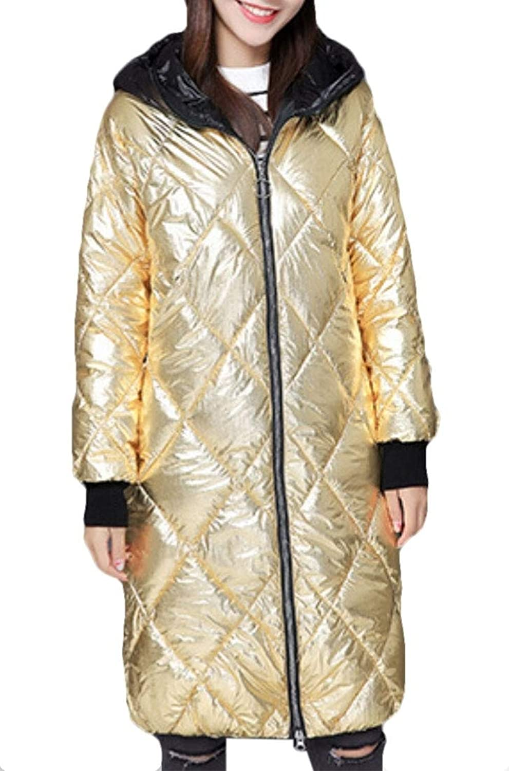 Keaac Women's Hooded Packable Zipper Ultra Light Weight Long Down Jacket