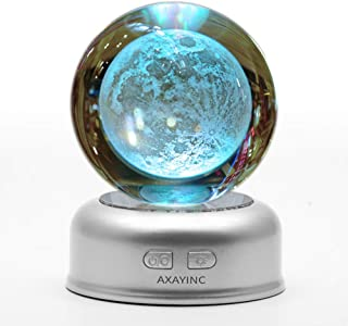AXAYINC 3D Moon Lamp Crystal Ball Lunar Night Light with Stand 7 Colors Change Illusion for Kids Room Baby Bedroom Decor 70mm