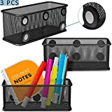 Mesh Magnetic Storage Baskets with Anti-Slip Feature and Strong Magnets - Magnetic Locker Organizer and Pencil Holder for Whiteboard and Refrigerator - Set of 3 (black)