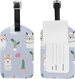 Alpaca Lama Cactus Luggage Tag PU Leather Bag Suitcases Baggage Label 1 Piece
