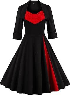 MisShow Women's Vintage 1950s Style 3/4 Sleeve Pathwork Rockabilly Swing Dress